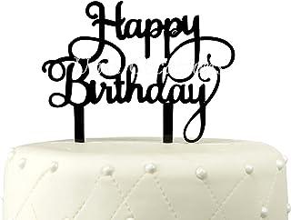 Unik Occasions Happy Birthday Acrylic Cake Topper (Black)