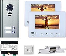 7 Inch Video Deurbel, Appartement Video Deurtelefoon Huisbeveiliging, Intercom, Nachtzicht Camera + 2 Monitoren + Deurslot