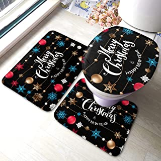 best gift Background with Christmas Logo Soft Comfort Flannel Bathroom Mats,Anti-Skid Absorbent Toilet Seat Cover Bath Mat Lid Cover,3pcs/Set Rugs