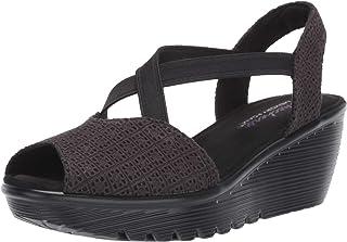 d55d180c4378 Skechers Women s Parallel-Peep Toe Gore Slingback Wedge Sandal