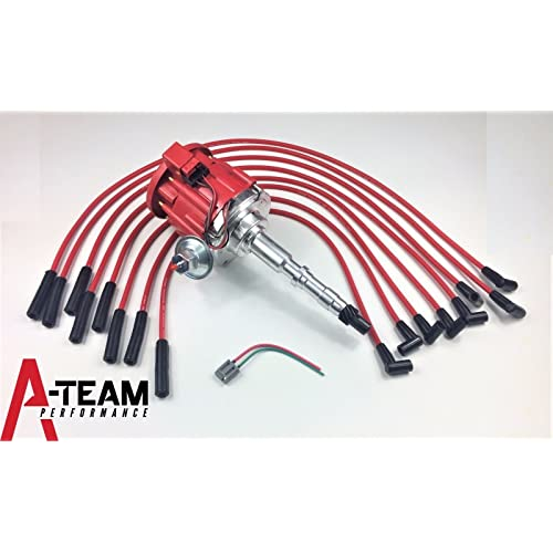a-team performance hei distributor 65k red spark plug wires compatible with  amc jeep 67