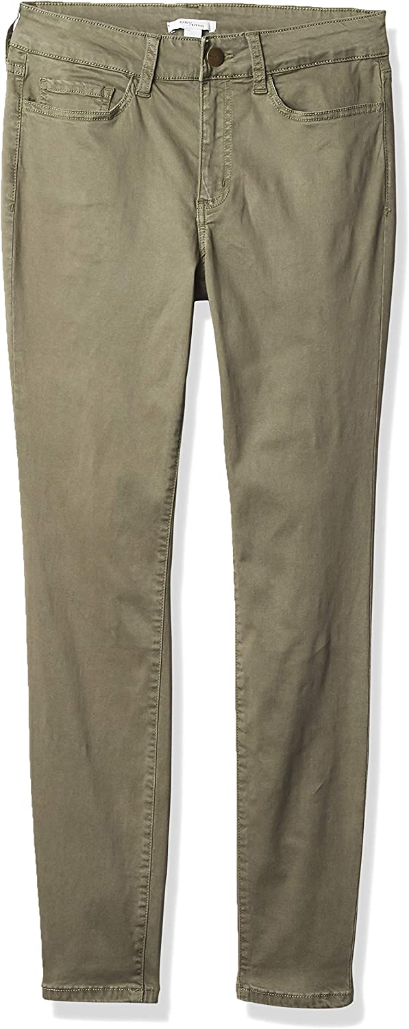 Daily Ritual Women's Standard Stretch Sateen Skinny-fit Pant