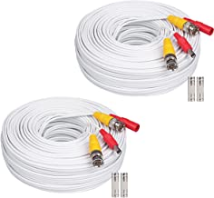 WildHD 2x200ft All-in-One Siamese BNC Video and Power Security Camera Cable BNC Extension Wire Cord with 2 Female Connetors for All Max 5MP HD CCTV DVR Surveillance System (200ft 2pack Cable, White)