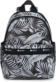LeSportsac Aloha Nights Basic Backpack/Rucksack, Style 7812/Color F204, Black, White & Grey Tropical Palm Fronds
