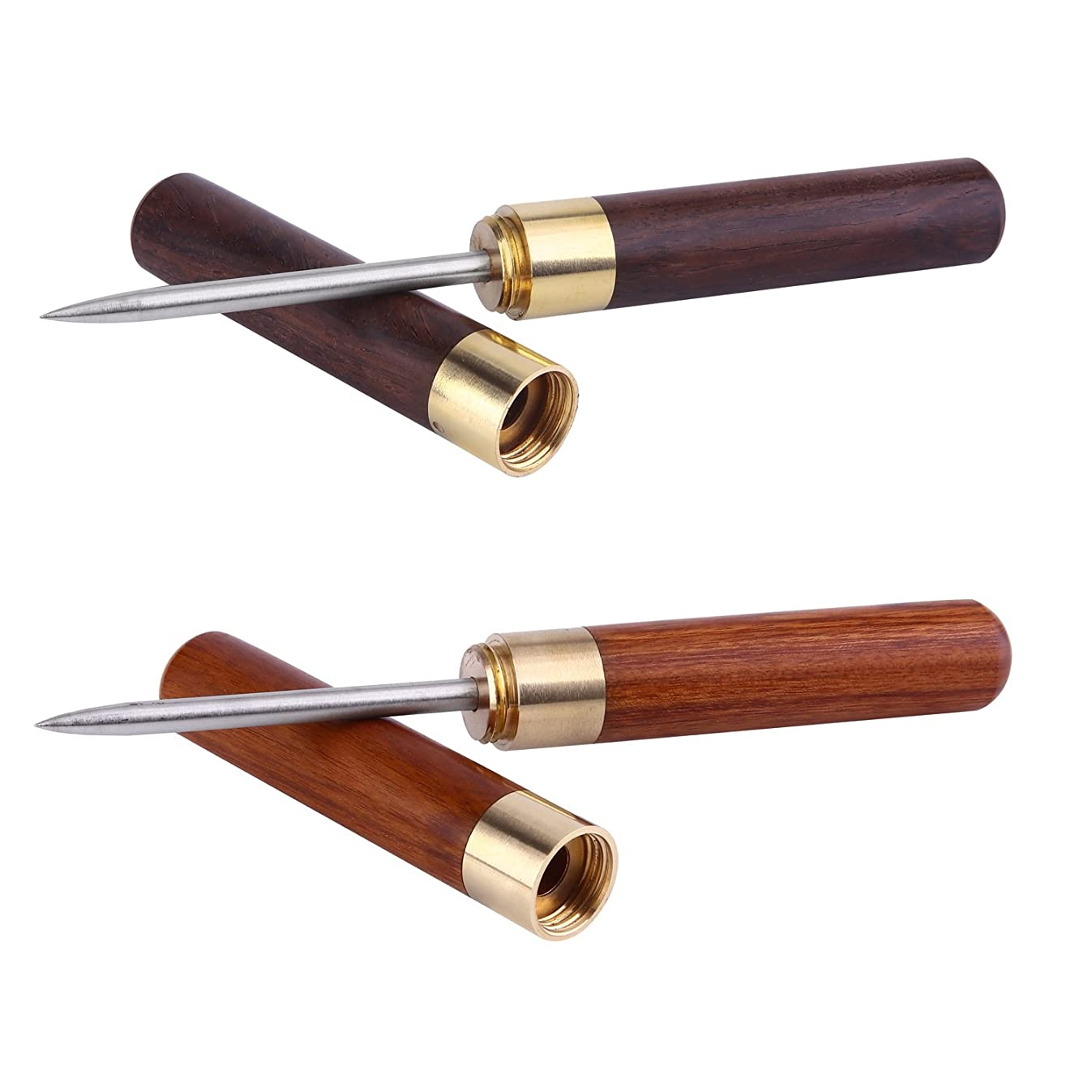 Anndason 2 Pcs Stainless Steel Ice Picks with Wooden Handle and Safety Cover Kitchen Tool.