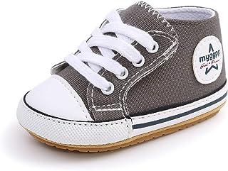 Zapatos de bebé para 0-18 Meses, Zapatillas de Lona para bebé niños y niñas Primeros Pasos con Suela Suave Antideslizante