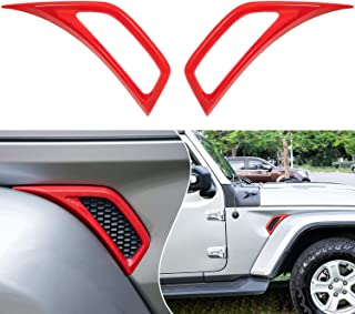 Bonbo Exterior Accessories Car Wheel Eyebrow Side Air Conditioning Vent Outlet Decoration Cover Trim ABS for 2018-2021 Jeep Wrangler JL JLU & Gladiator JT 2PCS (Red)