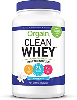 Orgain Grass Fed Clean Whey Protein Powder, Vanilla Bean - Low Net Carbs, Gluten Free, Soy Free, No Sugar Added, Kosher, Non-GMO, 1.82 Pound