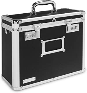 Vaultz Locking Personal File Organizer Tote Box, Letter Size, Black with Chrome (VZ00640)