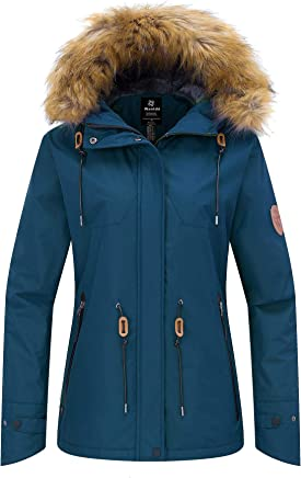 3098cc74acf62 Wantdo Femme Anorak avec Polaire Coupe-Vent à Capuche Fourrure Amovible  Veste de Ski Imperméable