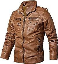 Chartou Men's Band Collar Zip Distressed PU Leather Fleece Lined Motorcycle Jacket