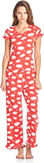 BHPJ By Bedhead Pajamas Women's Soft Knit Ruffle Short Sleeve Capri Pajama Set - Coral Dancing Sheep - Medium
