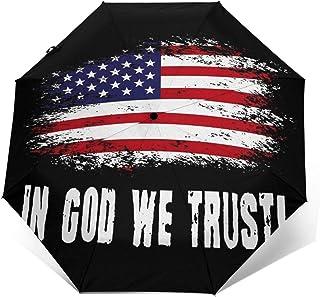Paraguas Plegable Automático Impermeable Lema de la Bandera Estadounidense 34, Paraguas De Viaje Compacto a Prueba De Vien...