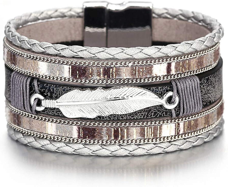 Men's Bracelet, Europe and America Bohemian Leaf Woven Leather Bracelet Leather Bracelet Men Birthday Present