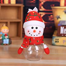 Christmas Funny Santa Candy Jar for Gift Plush Plastic Transparent Candy Storage Bottle with Lid Sweet Sugar Collection Bo...