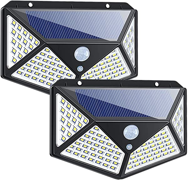 Yolife Outdoor Solar Security Lights 100 LED Waterproof Motion Sensor Lights Super Bright Wall Lights For Front Door Back Yard Garage Deck Porch Step Stair Garden Driveway Patio 2 Pack