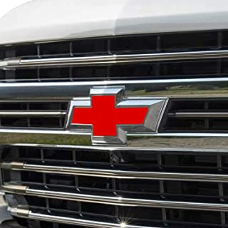 Bogar Tech Designs - Pre Cut Emblem Bowtie Overlay Vinyl Decal Compatible with Chevy Silverado 2019, Matte RED