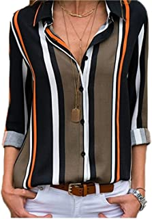 Womens Striped Chiffon Blouse V Neck Long Sleeve Button Down Shirts Casual Work Tops