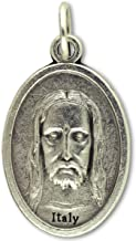Face of Christ/Cross Medal - Die-cast Italian Silver Plated 1 Inch Pendants Charms Catholic