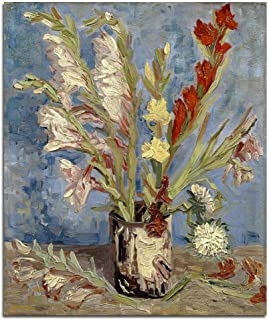 Wieco Art Vase with Gladioli and China Asters Large Modern Floral Giclee Canvas Prints Wall Art by Van Gogh Famous Artwork...