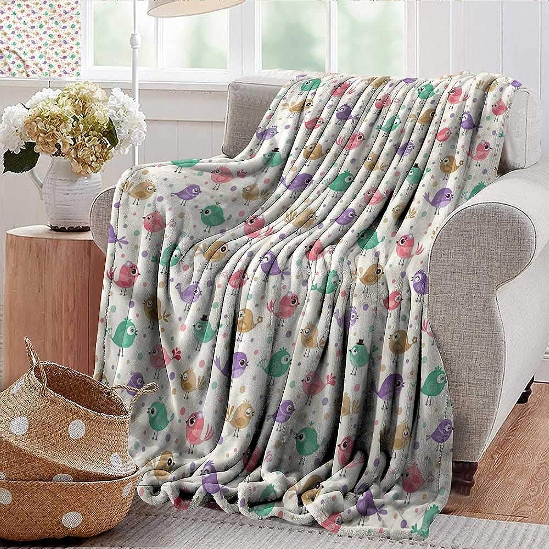 Xaviera Doherty Weighted Blanket Birds,Happy Avian Animal Characters Indoor Outdoor, Comfortable for All Seasons 35 x60