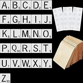 26 Pièces 4 Pouces Pochoir de Lettres de Tuile Pochoirs Alphabet, 26 Pièces Tranches de Bois Carré non Fini Vierges et 3 P...