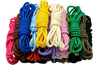 CUGBO 20 Pairs Round Shoelaces Assorted Colored 5mm Width Shoe Laces Strings for Sneakers Boots Skateboard Hiking Athletic Sport Shoes