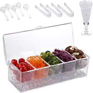 Ice Chilled 5 Compartment Condiment Server Caddy | Serving Tray Container with 5 Removable Dishes over 2 Cup Capacity Each and Hinged Lid | 5 Spoons + 3 Tongs + 1 cup with forks Included