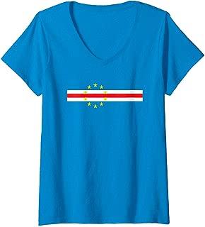 Womens Cool Cape Verde Flag Soccer Football Fan Gift V-Neck T-Shirt