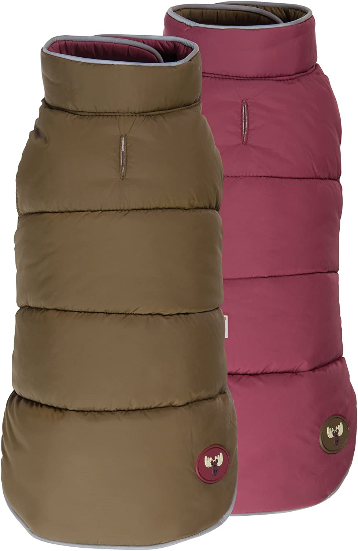 Fab Dog Reversible Puffer Vest Dog Jacket, Olive Burgundy, 16Inch Length