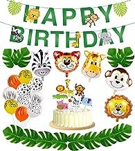 56pcs Jungle Safari Party Supplies,Jungle Animal Decorations, Safari Zoo Animals Happy Birthday Banner, Animal Balloons and Animal Cake Toppers for Jungle Safari Zoo Theme Birthday Party Decorations.