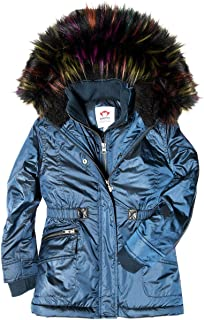 Womens Extra Soft Lined Middie Puffer Coat Faux Fur Hood (Toddler/Little Kids/Big Kids)