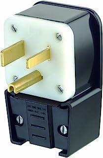 Leviton 9650-P 50 Amp, 250 Volt, Straight Blade, Plug, Industrial Grade, Grounding, Angle, Black