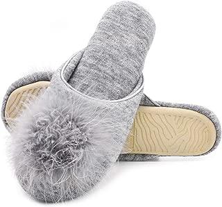 Zigzagger Women's Cute Pom-pom Memory Foam Slippers, Foldable Footwear for Ladies, Easy Slip-on Antiskid House Shoes