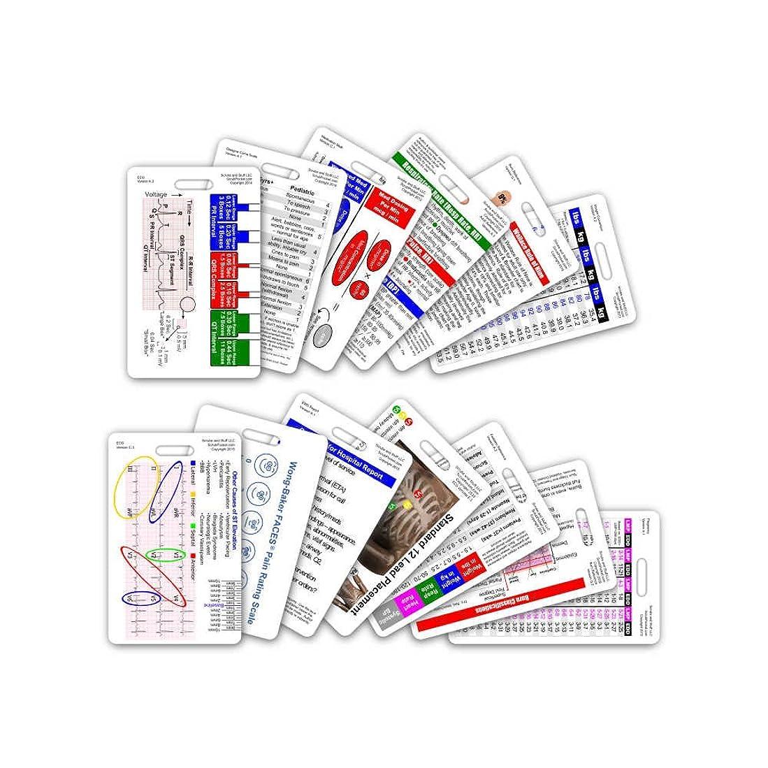 限界幹ピューComplete EMS Vertical Badge Card Set - 12 Cards by Scrubs and Stuff LLC