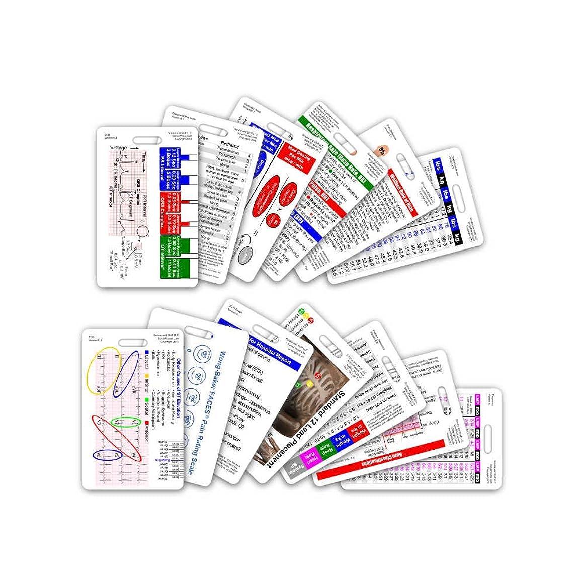 行動ハイブリッド常識Complete EMS Vertical Badge Card Set - 12 Cards by Scrubs and Stuff LLC