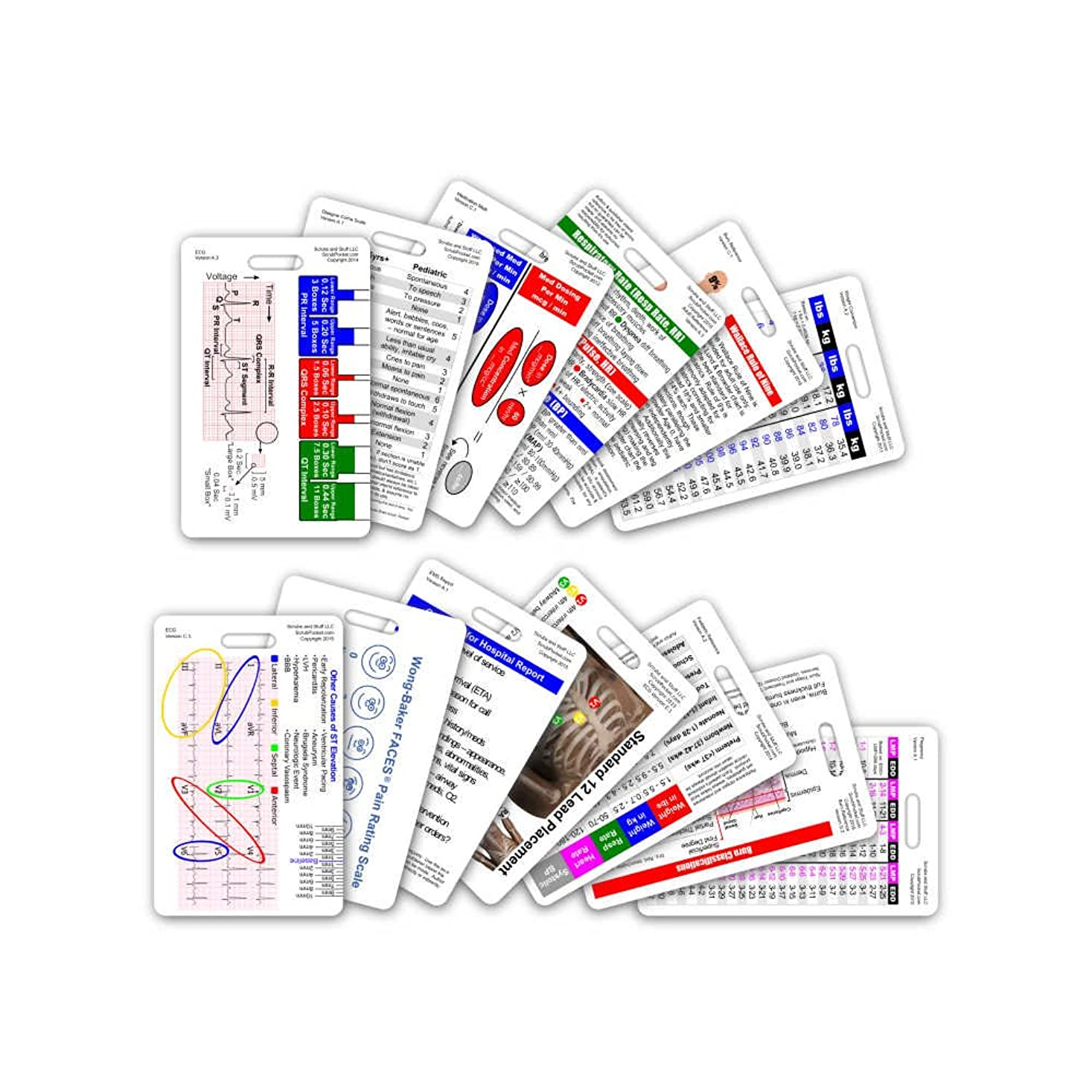 ただやる頑丈倫理的Complete EMS Vertical Badge Card Set - 12 Cards by Scrubs and Stuff LLC