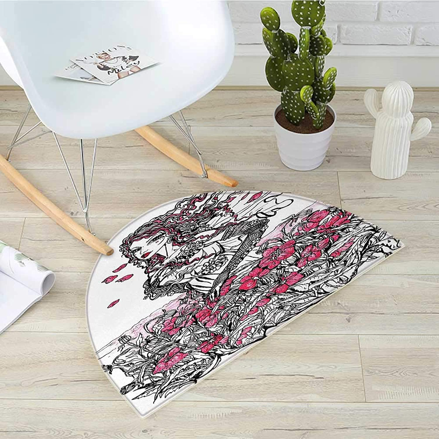 Sketchy Half Round Door mats Ink Illustration of a Woman on Poppy Field Surrounded by Flowers Spring Theme Bathroom Mat H 27.5  xD 41.3  Black White Pink