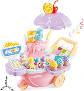 KISSKIDS Ice Cream Cart Toys Pretend Playset 39PCS Food Dessert and Candy Trolley with Music and Lighting for Girls and Boys
