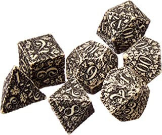 Beige & Black Forest dice Set by Q-Workshop for D&D RPG Warhammer (Elven, Ivory) /Item# G4W8B-48Q32109