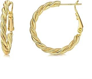 Hoop Earrings,14K Gold Plated Hoop Earrings for Women with 925 Sterling Silver Post
