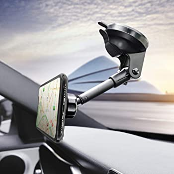Samsung S10+ 10 S9+ 9 and More Smartphone One Hand Operation Universal Phone Holder for Car Dashboard Windshield Compatible with iPhone 11pro 11 X Xs 9 Amoner Magnetic Phone Car Mount
