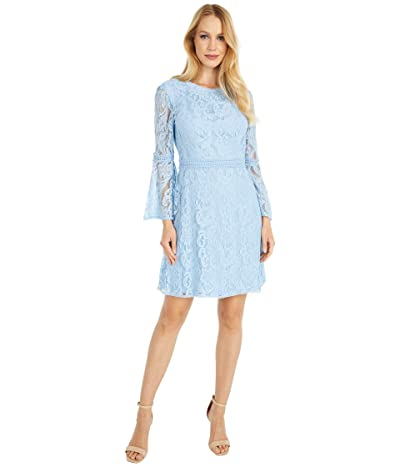 Adrianna Papell Bell Sleeve Lace A-Line Dress (Powder Blue) Women