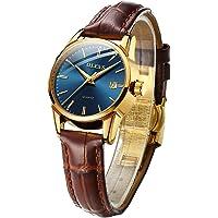OLEVS Women's Watch (Brown Strap & Blue Dial)