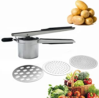 Potato Ricer and Masher with 3 Interchangable Discs Multifunction Fruit Masher Kitchen Supplies Stainless Steel Food Mashers