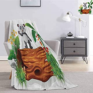Luoiaax Panda Faux Fur Blanket Warm Cozy Cute Baby Panda Standing on a Tree Trunk Tropical Flowers Big Leaves Colorful Art Lightweight Life Comfort Blanket W60 x L80 Inch Green Brown