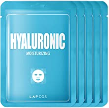 LAPCOS Hyaluronic Acid Sheet Mask, Daily Face Mask to Protect and Nourish Skin, Korean Beauty Favorite, 5-Pack