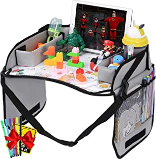 Innokids Kids Travel Lap Tray Car Seat Snack Organizer Toddler Activity Play Desk with Erasable Surface, iPad & Tablet Holder, Mesh Pockets for Short Road Trips or Long Journeys (Gray)