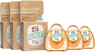 Dr. Ginger's Coconut Oil & Xylitol Expanding Dental Floss (32 Yards, 3 Count) - Coconut Mint Flavor