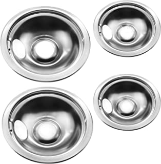 """Stainless Drip Pan Set Replacement for Frigidaire Kenmore 316048413 316048414 With 6"""" and 8"""